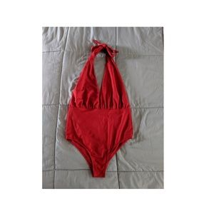 Red halter one-piece swimsuit